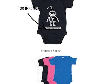 Baby robot Romper, customizable romper, robot name romper, personalized robot romper, robot baby shirt, sci-fi baby romper, fantasy romper