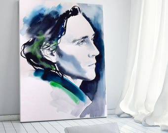 Loki Fine Art Print Watercolour Ink Teal Dark Green Indigo Canvas or Fine art paper