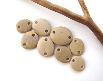 Beads Rock Mediterranean Beach Stone Pebble Jewelry Beads River Rock Connectors Small CREME LINKS 15-21 mm