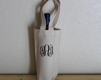 Monogramed Canvas Handled Wine Bag