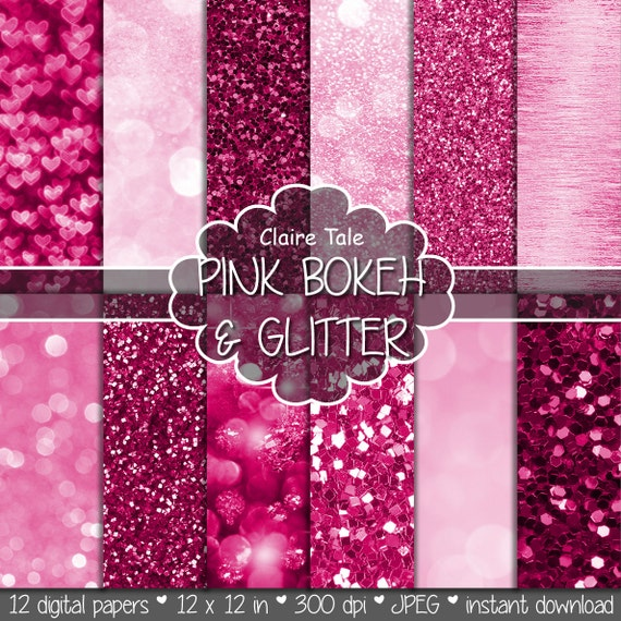 """Pink digital paper: """"PINK BOKEH & GLITTER"""" with pink glitter background and pink bokeh background for photographers and scrapbooking"""