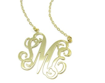 "Personalized Necklace Monogram Initial 1"" - Sterling silver 925 Plated 18k gold. gift for her, monogram jewelry."