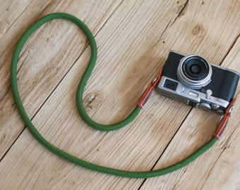 B model Brown Leather Green Climbing rope 10mm handmade Camera neck strap