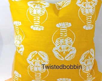 Yellow lobster Pillow case. Yellow and white pillow cover.  Designer pillow. cushion cover.select your size
