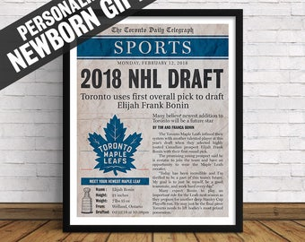 Toronto Maple Leafs | Custom Birth Announcement, Newborn Sports Section Page with Birth Stats | Art Print | Perfect Gift for Hockey Fans