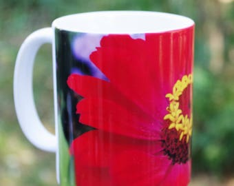 Red zinnia flower nature inspired Ceramic mug, 11 or 15 oz | floral kitchen decor, Christmas, housewarming gift for her gift for him 1716b