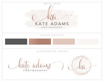 Photography Logo, Branding Package,  Logo Set, Mini Logo Package, Rose Gold logo Branding Kit, Logo Suite, Business Logo  bp97