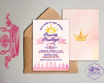 Princess Invitation, Princess Birthday Invitation, Princess Party, Watercolor Princess Invitation, Princess Birthday Party, Girl Invitation