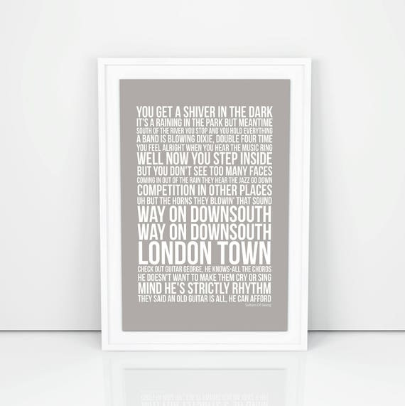 Dire Straits Sultans Of Swing Lyrics Poster Print Design A3 A4
