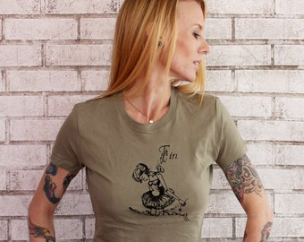 Ballet T Shirt, Wind Up Ballerina Screen-printed TShirt, Cotton Crew-neck  Graphic Tee, Women's Clothing, Ladies Top, Light Olive Drab