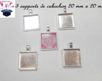 5 penentifs silver ring square 20 x 20 mm