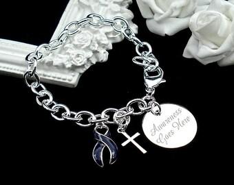 DP-1 PURPLE Ribbon and Cross Charm Bracelet Awareness Jewelry Ulcerative Colitis Crohns Disease Fibromyalgia Lupus, Chiari Malformation #FOB