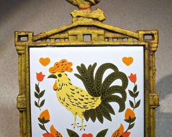 Cast Iron & Tile Rooster Trivet! Yellowed Metal, Chicken, Yellow, Orange, Green, Black, Pennsylvania Dutch Style, Kitchen Wall Art, Solid