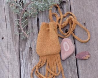 Buckskin medicine bag with fringe , Leather crystal bag , Suede leather necklace bag , Amulet pouch