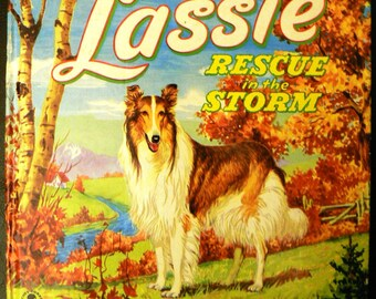 vintage childrens book... LASSIE RESCUE in the STORM 1951 hardcover Book ...