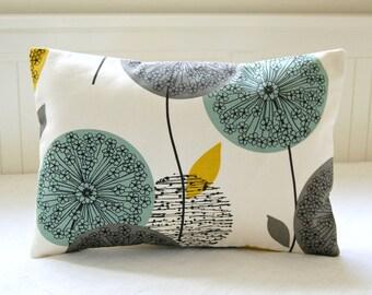 decorative pillow cover  blue teal grey mustard yellow, dandelion sofa cushion cover lumbar 12 x 18 inch