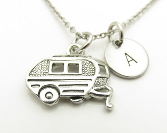Camper Necklace, Camper Van, Camping Trailer, Personalized, Monogram, Initial Necklace, Silver Camper Charm, Antique Silver Finished, Y404