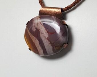 Mookite/Jasper Handcrafted Copper Pendant - men, women, boys - MJCuP1001