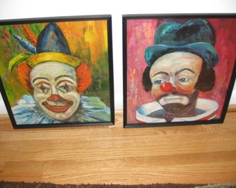 "CLOWN FACES FRAMED Two Prints Clown Faces Framed In Black Wood Frame By Michelle 13 3/4"" x 15 1/4"""