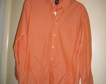 Mens Vintage GAP Orange, Long Sleeve Cotton Shirt Size L, NWT