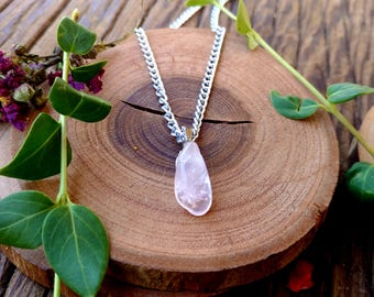 Rose Quartz Shard Necklace ,Rose Quartz Charm, Love Crystal, Metaphysical, Healing Crystal, Crystal Necklace, Love Spells, Heart Chakra