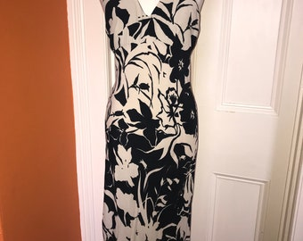 Black Cream Bias Cut Halter Summer Dress Halterneck UK 8 US 6 Vintage 90's