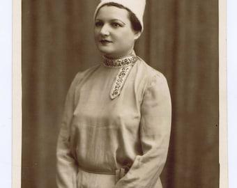 Antique Vintage Slavic Russian Folk Dancer Photograph Costume Sepia Tone History Traditional Dress Textiles