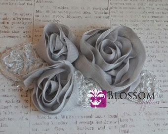 Flower Appliques - GRAY - The Grace Collection - Triple Chiffon Flowers with Silver Leaves - DIY Headbands - Bridal Applique Wholesale Roses