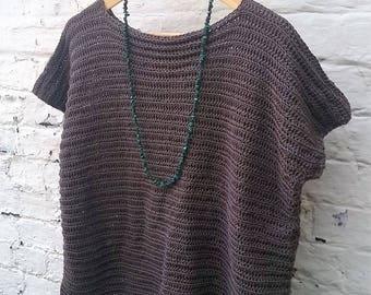 Tumblestone Tee - Cotton Bamboo Crochet Top - Ready to Ship