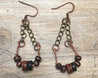 Wooden bead and copper wire chain earrings