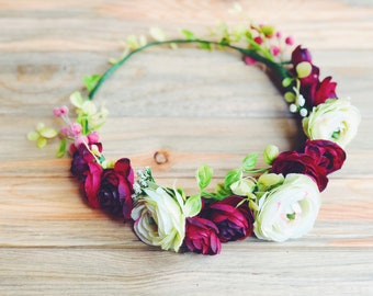 Red Flower Crown, Red Rose Flower Crown, Evening Flower Crown, Red + White Floral Crown, Wedding Flower Crown