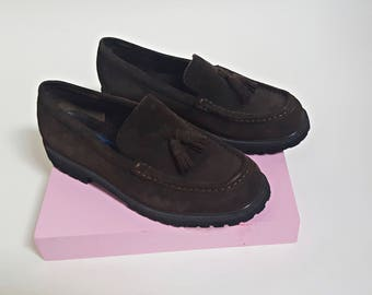 vintage 1980s Leather Suede LL Bean Tassel Loafers - Womens Size 6.5