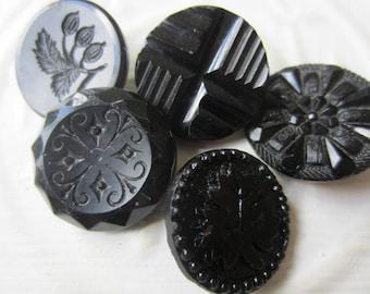 Vintage Buttons - lot of 5 jet black, pressed assorted designs Victorian (lot sept  311)