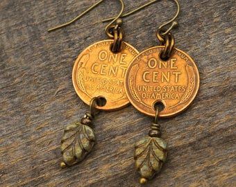 Leaf penny earrings, multicolor beads, US wheatie coins French hooks brass dangle