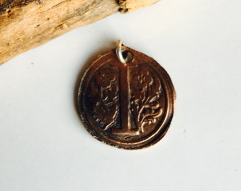 Wax Seal Stamp, I Initial, Monogrammed Pendant, Wax Seal Pendant, Copper Clay, PMC Clay, Etsy, Etsy Jewelry
