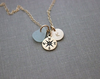 Bronze Compass necklace, genuine Sea Glass, personalized mini gold initial, 14k Gold Filled chain Beach Jewelry, Graduation gift idea travel