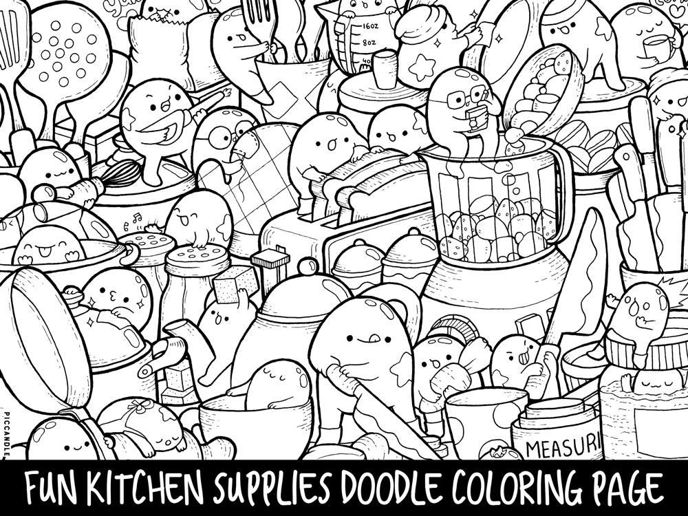 Kitchen Supplies Doodle Coloring