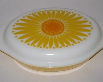 Vintage Pyrex Yellow Sunflower Divided Casserole or Serving Dish 1 1/2 Quart