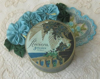 Vintage Riviera Face Powder Box - Maker is Joncaire of Paris - Art Deco Design -  Full Contents - Never been Opened