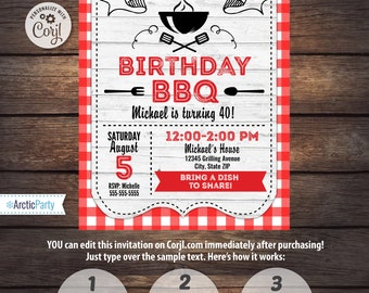 BBQ Invitations - BBQ Birthday - BBQ Party Invitations - Barbecue Party - Instant Access to files! Edit Now with Corjl.com - ArcticParty