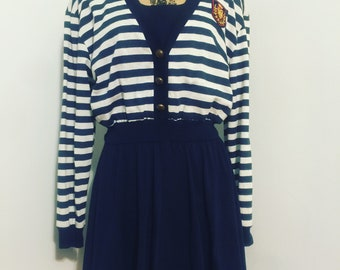 Vintage - 1980s Navy and White Striped Sailor Dress