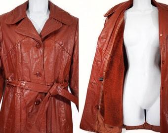 Vintage 70's Leather Jacket Coat w/ Detachable Lining Size 8