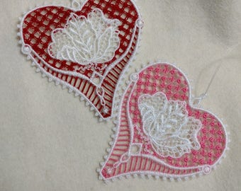 Lace Hearts for Valentine's Day or Wedding