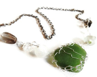 Sea Glass Statement Necklace, Genuine Seaglass Jewelry, Smoky Quartz, Wirecrocheted, Sterling Silver Bezel, African Glass Beads, Handmade