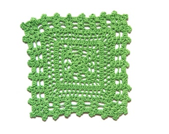 Bright  green hand dyed square Crochet Doily Vintage doily