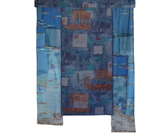 Ancient Greece Large art quilt Antique ship Quilted wall hanging Homer Iliad Abstract fabric picture South sea Sailing boat wall art Trireme