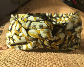 Headband P' little trickster Wax Ibadan - mustard yellow green white pearls