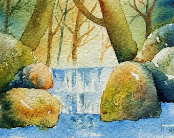 Woodland Waterfall Blank Greeting Card