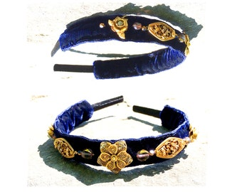 GILDED-MANE HEADBAND : Vintage Brass Filigree Flowers w/ Glass Beads