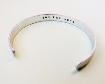 Mindfulness secret message cuff, inspirational mantra bracelet, you are here hidden message, hammered bangle, open skinny cuff, jewellery